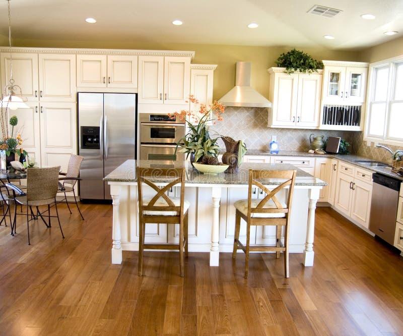 Luxurious kitchen with hard wood flooring stock image