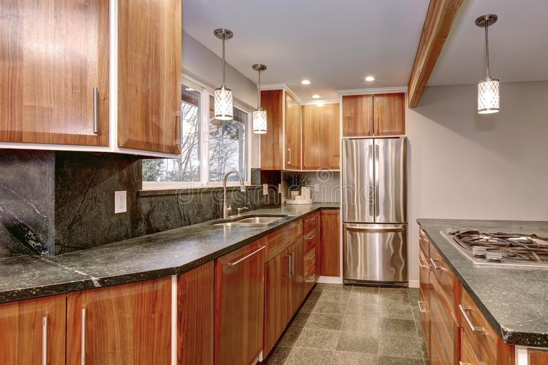 Luxurious kitchen room with stainless steel appliances. Luxurious kitchen room with stainless steel appliances, dark counter tops and tiled floor royalty free stock photo