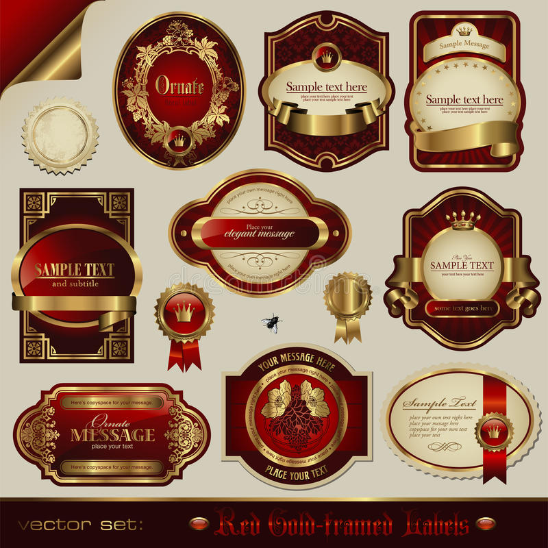 Luxurious labels. Red and golden labels in different styles