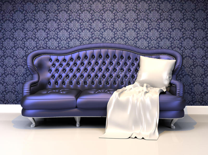 Luxurious leather sofa with covering in interior royalty free illustration
