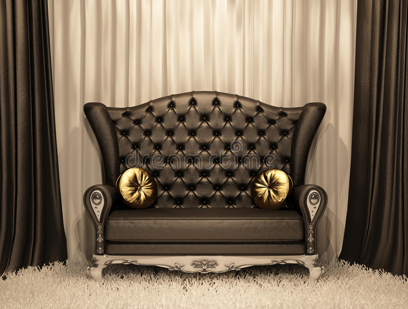 Luxurious leather sofa with pillows stock illustration