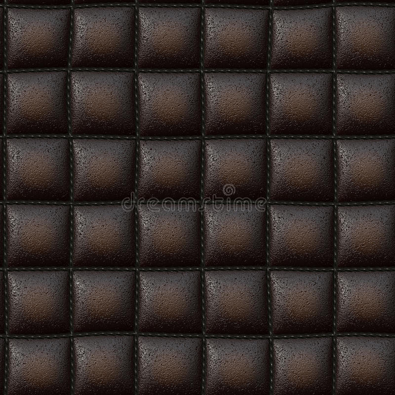 Luxurious Leather Texture. Dark brown leather padded leather or vinyl upholstery texture that tiles seamlessly as a pattern vector illustration