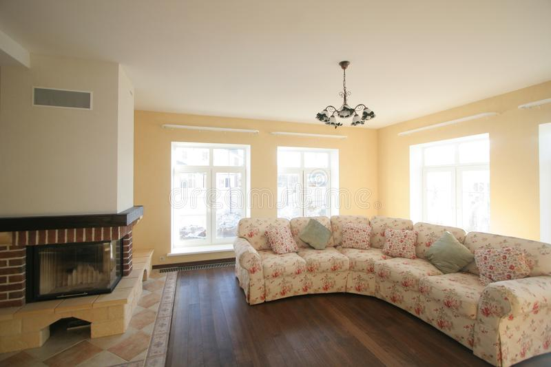 Luxurious living room, beautiful entrance. royalty free stock images