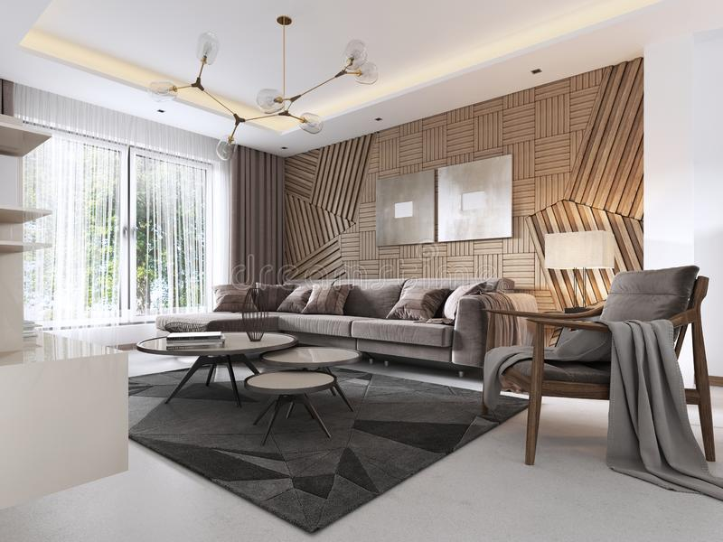 Luxurious living room in Contemporary style with wooden decorative panel on the wall. Studio apartment with a sofa and a dining. Table. 3D rendering stock illustration