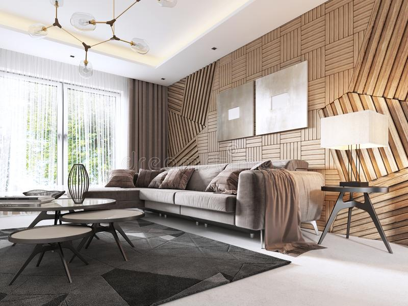 Luxurious living room in Contemporary style with wooden decorative panel on the wall. Studio apartment with a sofa and a dining. Table. 3D rendering royalty free illustration