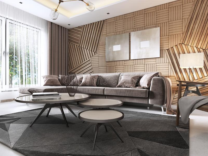 Luxurious living room in Contemporary style with wooden decorative panel on the wall. Studio apartment with a sofa and a dining. Table. 3D rendering vector illustration