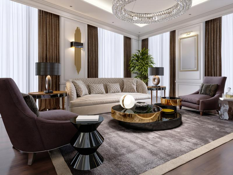Luxurious living room in modern style with sofa, armchair, designer furniture, TV stand, large decorative candlestick, round royalty free illustration