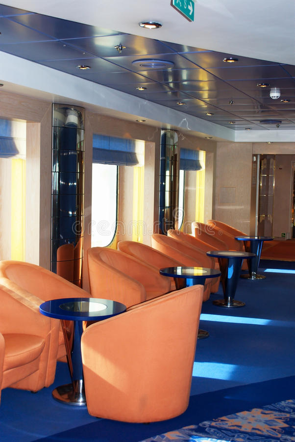 Luxurious lounge. In a cruiser ship stock photography