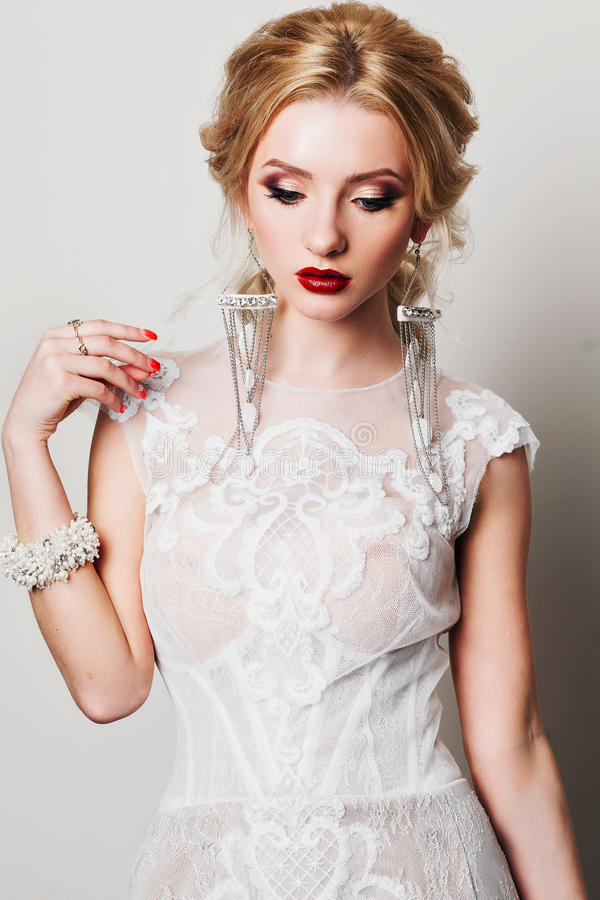 Luxurious Make up. Red lipstick royalty free stock image