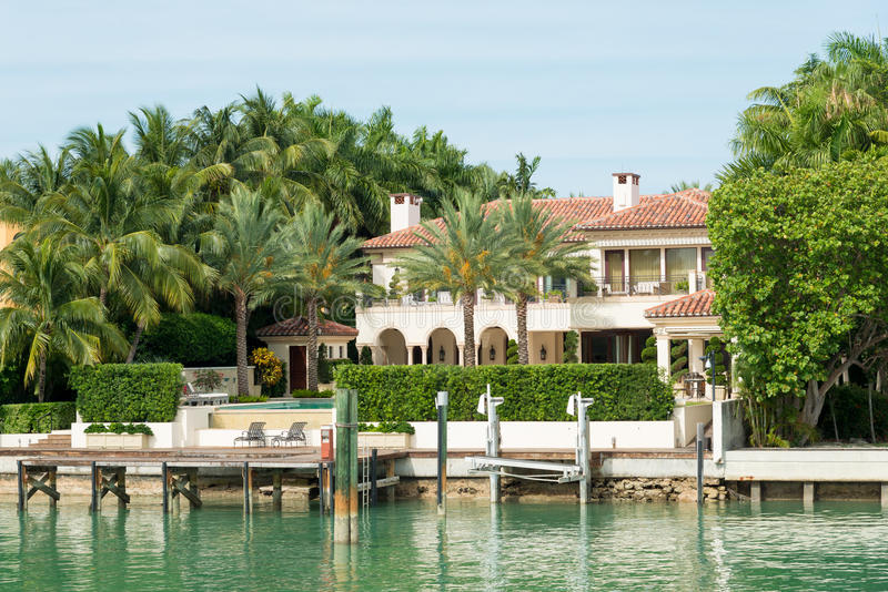 Luxurious mansion on Star Island in Miami. An artificial island in Biscayne Bay and the home of many rich and famous people stock photography