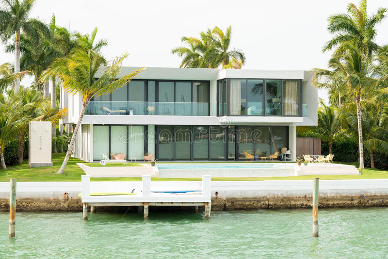 Luxurious mansion on Star Island in Miami. An artificial island in Biscayne Bay and the home of many rich and famous people stock photos
