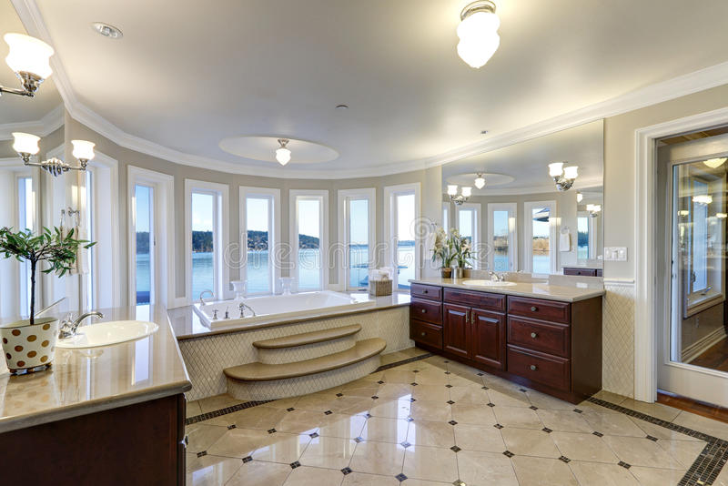 Luxurious master bath boasts jetted tub royalty free stock photos