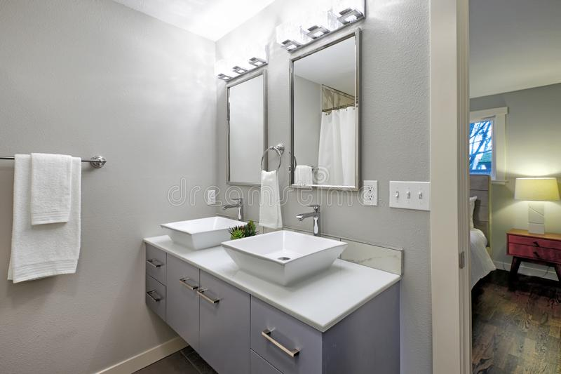 Luxurious master bath with two sinks. stock image