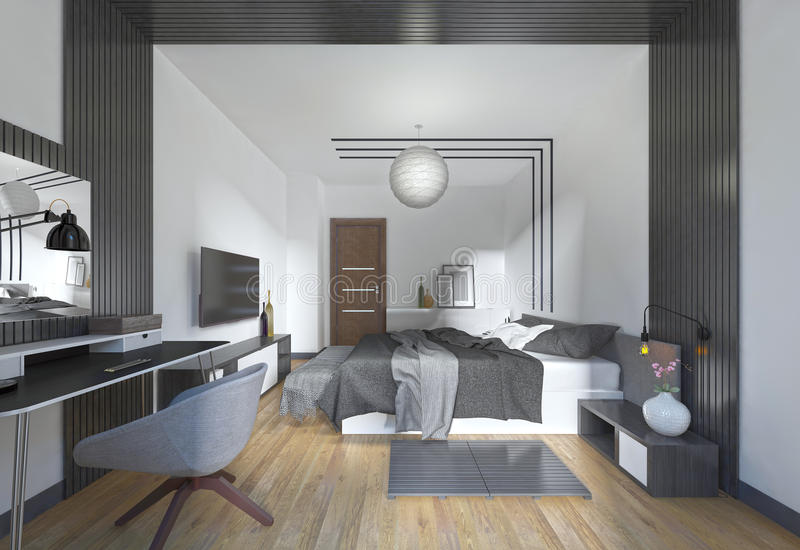Luxurious, modern bedroom in contemporary style in black and white. Bedroom with decorative elements on the walls. 3D render royalty free illustration