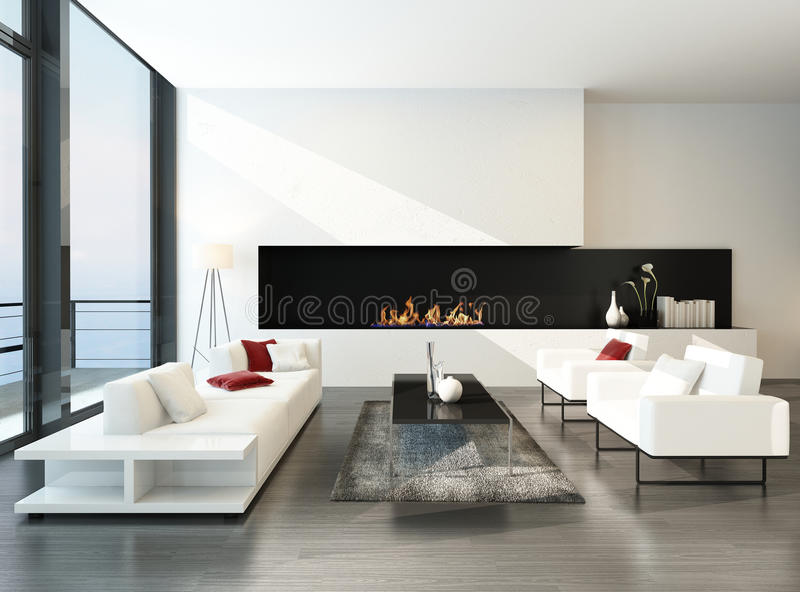 Luxurious modern desing living room with fireplace vector illustration
