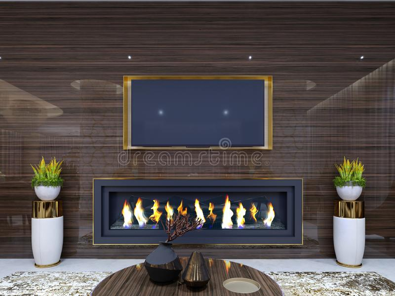 Luxurious modern fireplace in the hotel, in a cozy waiting area, wooden wall with built-in TV and fireplace. With stands for. Flowerpots and burning fire. TV royalty free illustration