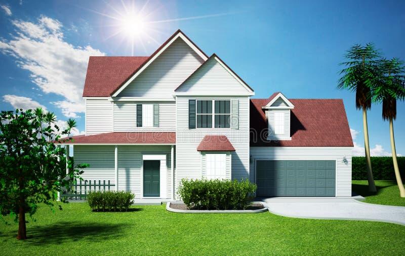 Luxurious modern house. 3D illustration stock illustration