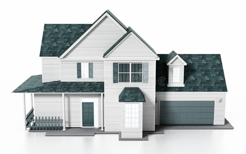 Luxurious modern house isolated on white background. 3D illustration royalty free illustration