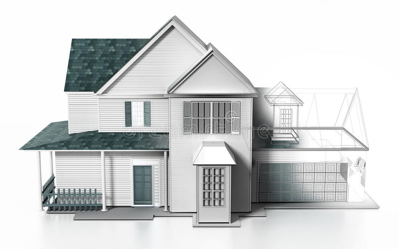 Luxurious modern house with wireframe rendered parts. 3D illustration.  royalty free illustration