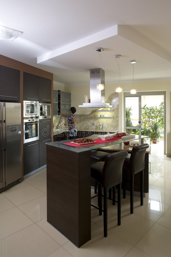 Luxurious modern kitchen stock images