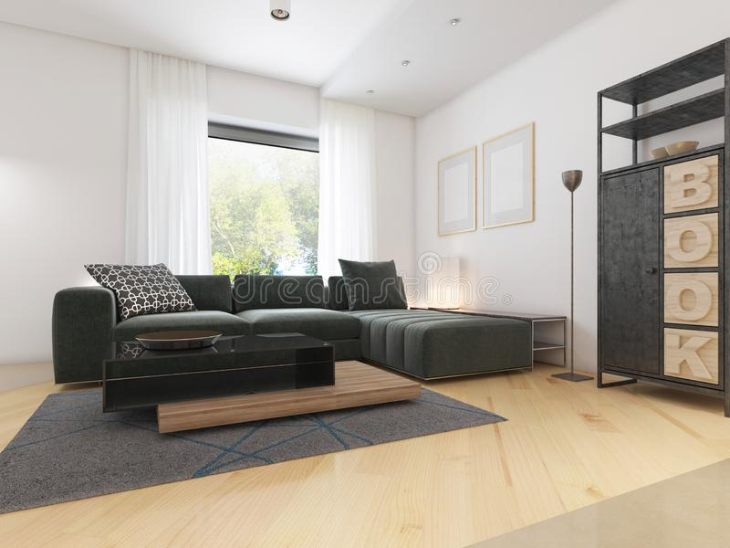 Luxurious modern studio apartment in Contemporary style. 3D rendering stock illustration