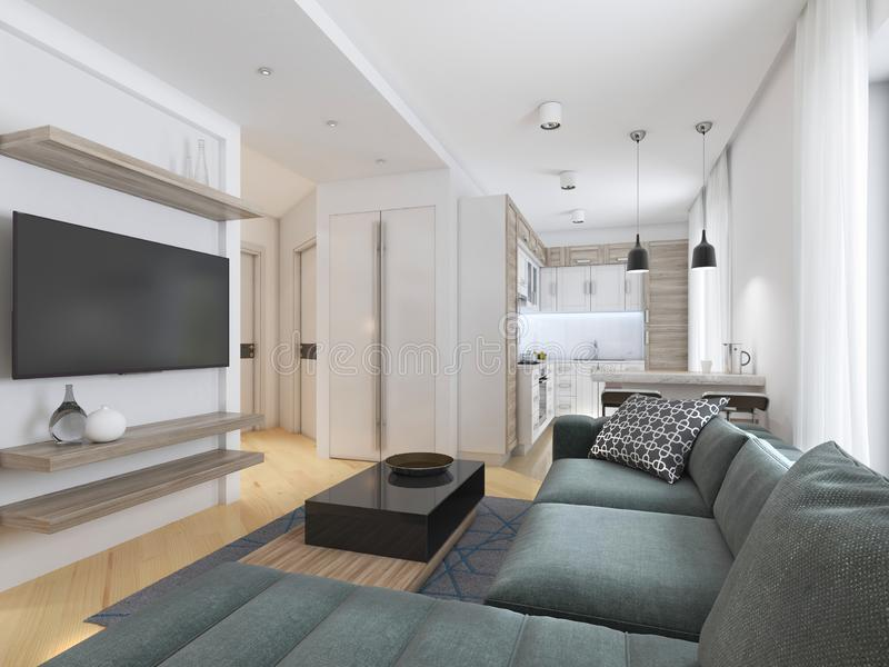 Luxurious modern studio apartment in Contemporary style. 3D rendering royalty free illustration
