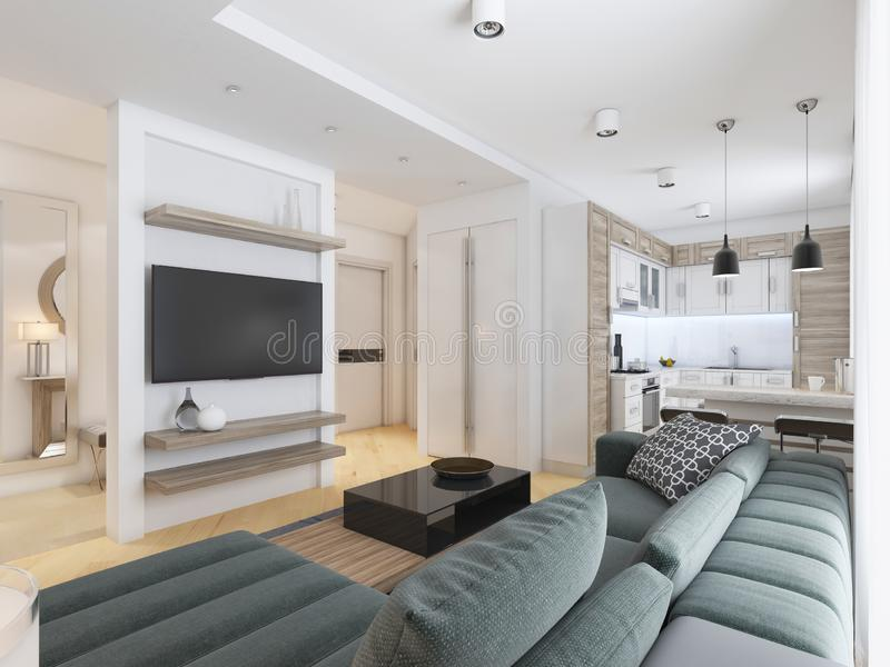 Luxurious modern studio apartment in Contemporary style. 3D rendering vector illustration