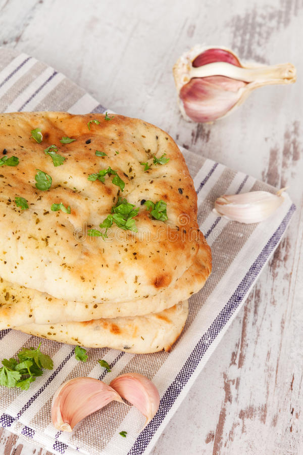 Luxurious naan flat bread. royalty free stock images