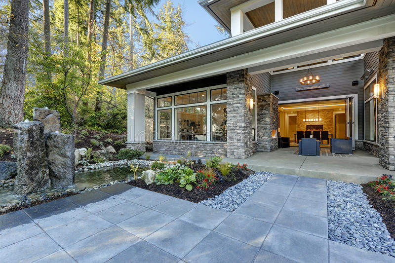 Luxurious new construction home exterior stock image