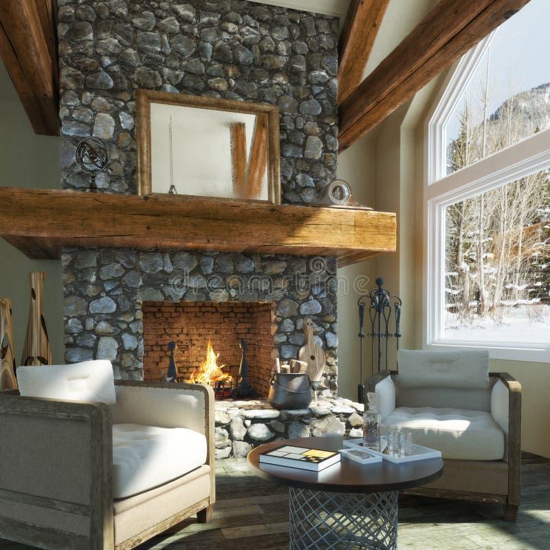 Luxurious open floor cabin interior design vector illustration