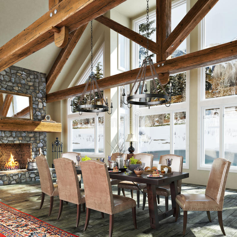 Luxurious open floor cabin interior dinning room royalty free illustration