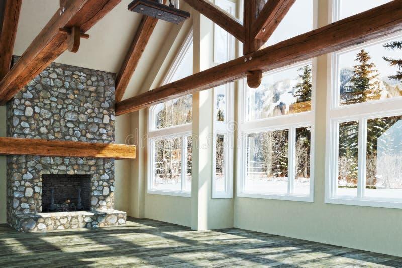 Luxurious open floor empty cabin interior stock illustration