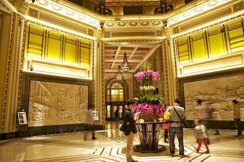 Luxurious Peace Hotel lobby in Shanghai royalty free stock images