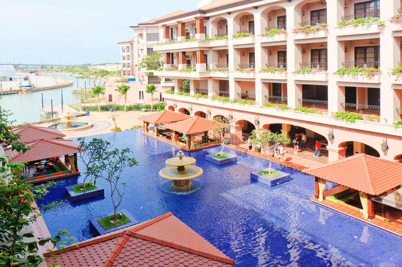 Luxurious & Peacefull Hotel. Luxurious & Peaceful fountain of the biggest and most Luxurious Hotel of Malacca at border of the rive, Casa del Rio, Malacca royalty free stock images