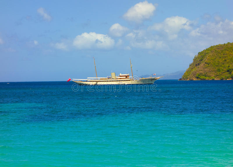 A luxurious private yacht in the caribbean royalty free stock photography