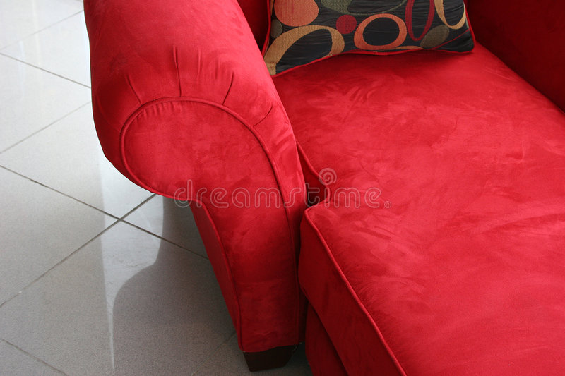 Luxurious red lounge chair stock photo