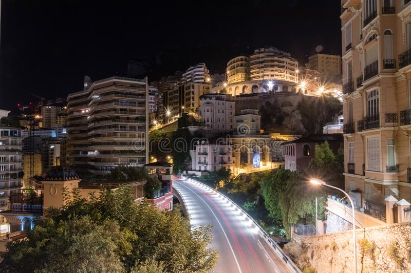 Luxurious residential buildings of Monaco in the night.  stock photos