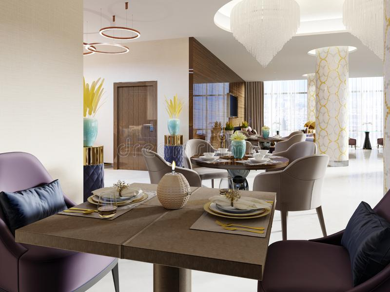 The luxurious restaurant in the hotel has a modern interior design, soft armchairs and served tables royalty free illustration