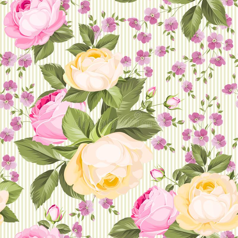 Luxurious rose wallapaper in vintage style. Seamless pattern of blooming roses for floral wallpaper. Pink romantic theme. Vector illustration royalty free illustration