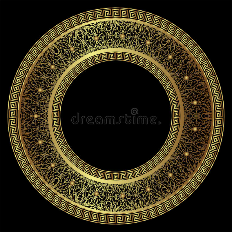 Luxurious round gold frame vector illustration