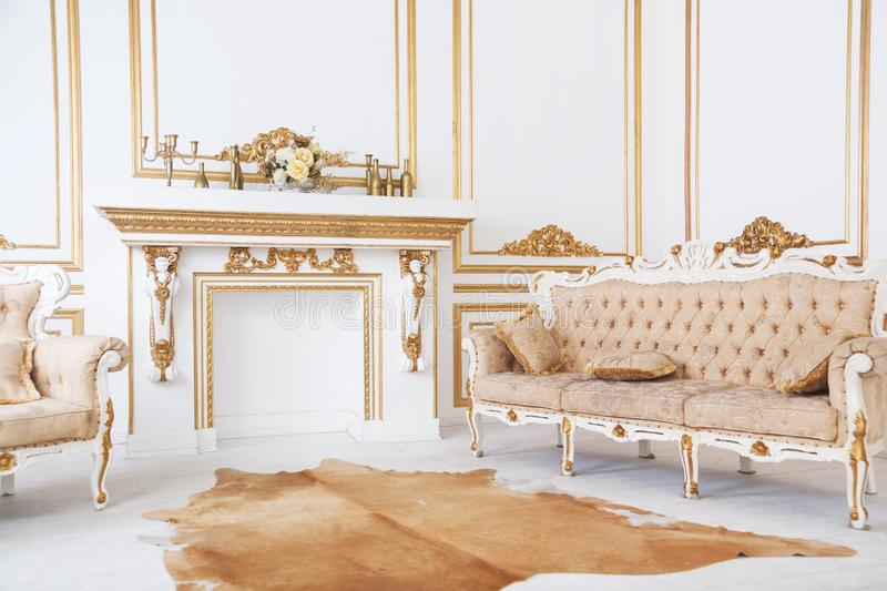 Luxurious royal style interior chimney room royalty free stock images
