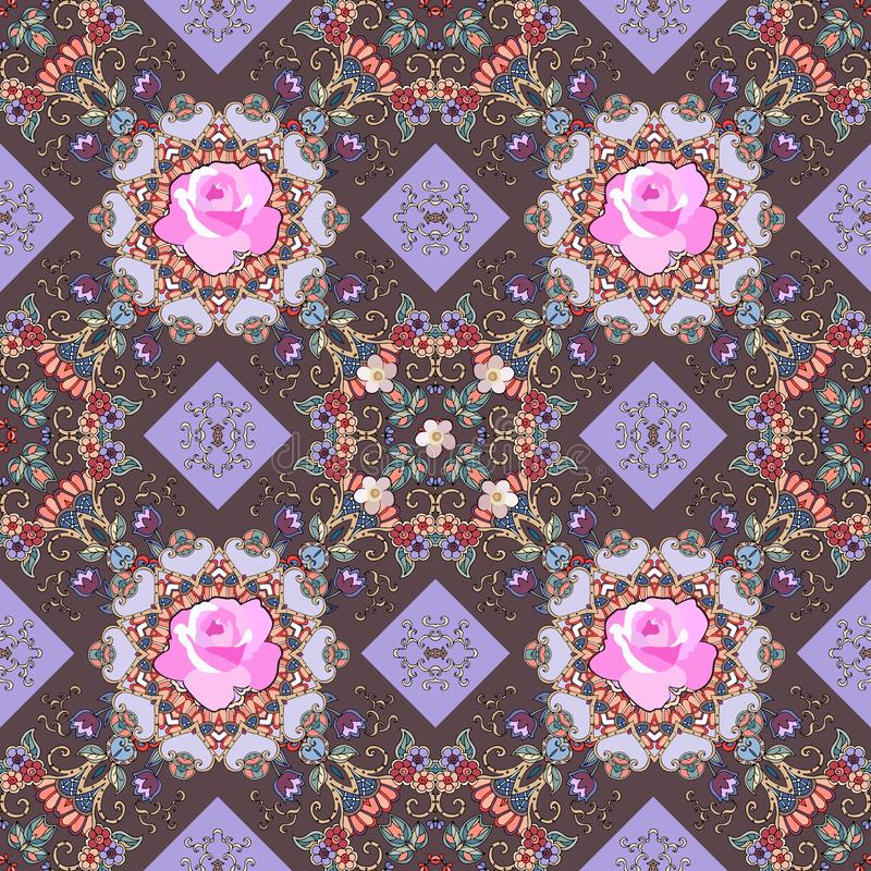 Luxurious seamless full color ornament with delicate pink roses, small tulips and lace elements. Print for fabric vector illustration