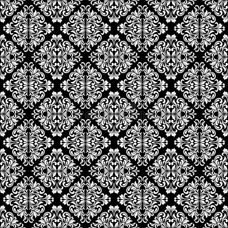 Luxurious seamless pattern. White ornate Damask ornament on a black background. Elegant tracery from swirls and foliage. Ideal for textile print and wallpapers royalty free illustration