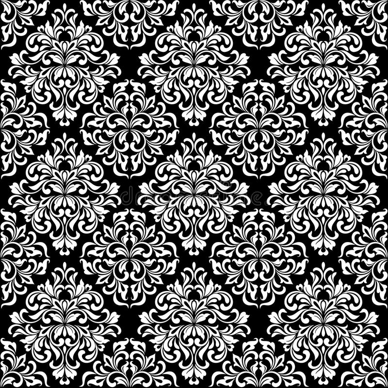 Luxurious seamless pattern. White ornate Damask ornament on a black background. Elegant tracery from swirls and foliage. Ideal for textile print and wallpapers stock illustration
