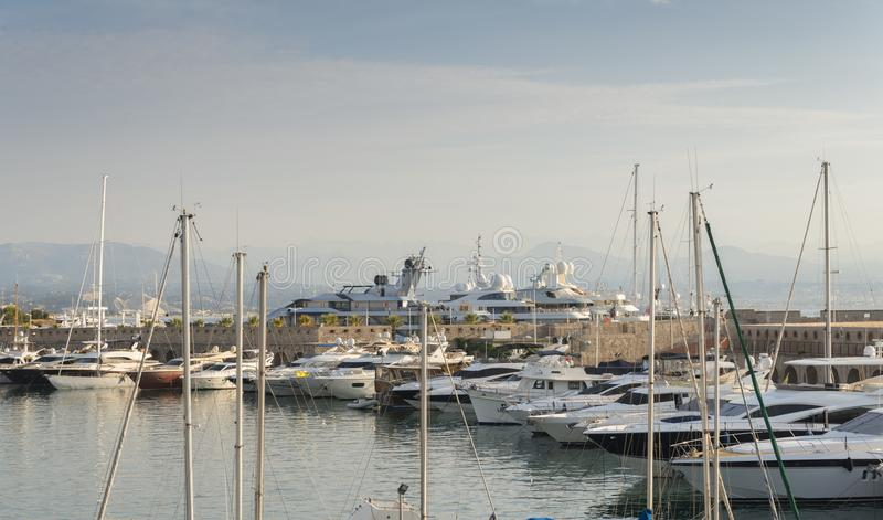 Luxurious super yachts in Port Vauban in Antibes, France.  stock photography