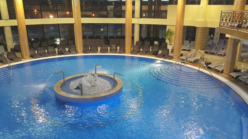 Luxurious swimming pool. Beautiful swimming pool in five star hotel Izvor, spa center in Arandjelovac, central Serbia, Europe stock images