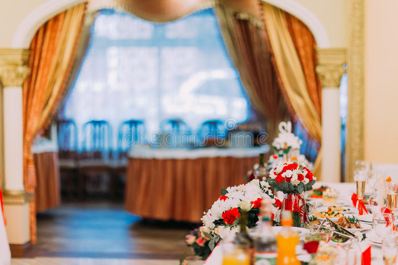 Luxurious table set for wedding or another catered event dinner in restaurant stock images