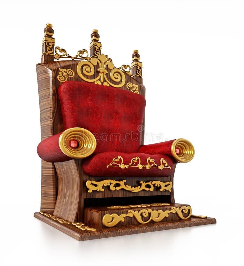 Luxurious throne isolated on white background. 3D illustration stock illustration