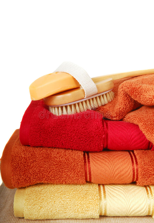 Download Luxurious Towels With A Brush And Soap Stock Image - Image: 11868397