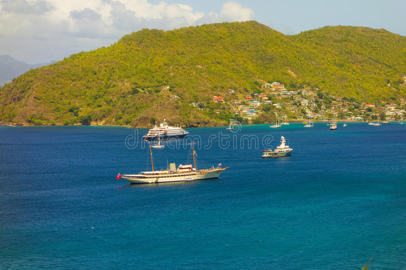 Luxurious vessels in the caribbean royalty free stock photography